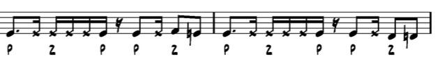 Dirko Juchem - Take Five, mm.2-3, beatbox notation